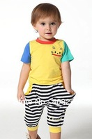New kids fashion leisure clothes preppy kid summer clothing for girl and boy striped pattern cartoon animal SMILE T-shirt sets