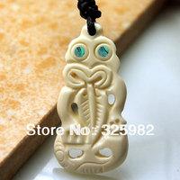 Hot Sale Tribal Surfer Style Maori Handmade Carved Ox Bone TIKI Pendant Adjustable Choker Necklace