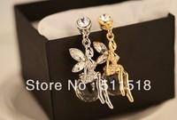 Wholesale -P061 New  Korean crystal ball angel full crystal charming beautiful faery ear cap dust plug jewelry accessories free