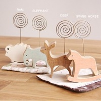 Free Shipping Simple wooden animals message folders notices clip bookmark notes folder memo holder 10pcs/lot