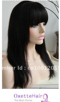 Wholesale Yaki straight 100 fashion Brazilian hair glueless full lace wig &lace front wig with full bangs
