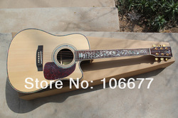 Free Shipping 2013 New M 41 Inch Spruce Cutaway Body Tree of Life Inlay Fishman EQ Acoustic Electric Guitar Natural Color(China (Mainland))