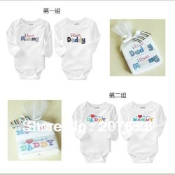 free shipping 12pcs /lot baby wear infant boy /girl bodysuit I love dad and mum long sleeve romper with gift bag 6pack(China (Mainland))