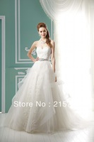 New arrival 2013 Free shipping  off the shoulder sweetheart neckline applique handmade sashes white    Wedding Dress