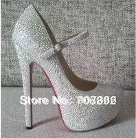 Mary Jane shoes 160mm diamond pumps red bottom high heels leather AB Rhinestone wedding heels