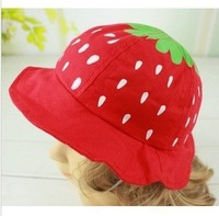 Baby Girls Pretty Strawberry Sun Hats Pink/Rose/Light Yellow/Blue Korean Style Girls Princess Hat Hot Sale
