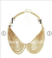 (Min.order is US$10) T9 Round golden chain Tassel Punk Vintage Exaggerated Max Necklace for Women Choker Jewelry Collar Necklace
