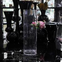 Home flower cylinder flower transparent cylindrical shaped glass vase