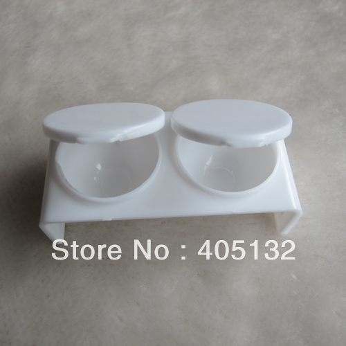 NA49 10x Acrylic Liquid holder double dappen dishes Case White Manicure Tool Nail Art Tools(China (Mainland))