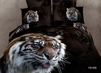 free shipping oil painting tiger active printing 100%cotton 4pcs queen bed linen bed sheet set bedding set duvet cover set