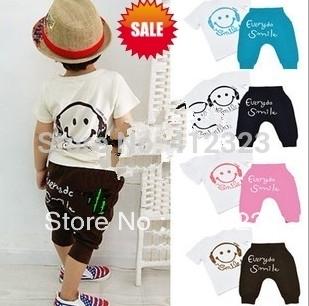 2014 new clothing set children kids boys girls smile face tshirt shirtst+ pants trouses short suits set baby wear
