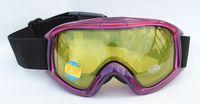 Free Shipping Double Yellow Lens Polarized Anti Fog Windproof Sport Ski Goggles Brand UV Snow Glasses Clear Purple Frame Women