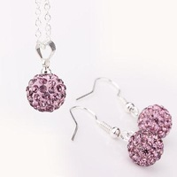 Promotion Free shipping 925 Silver women jewelry Sets drop Earrings Necklace light purple Crystal Disco Ball Shamballa set