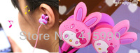 hot sales Cartoon hello kitty Rabbit headphone in ear monitor wired Music earphone High-quality sound Stereo MP3 MP4 headsets