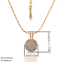 18K GP  Yellow  gold Chains Crystal  ball  pendant  for women different  Color style  necklace  Novel fashion Jewelry GPN16