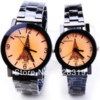 Recommended Special Wholesale Fashion New Eiffel Tower In Paris Couple Steel Watches Free Shipping