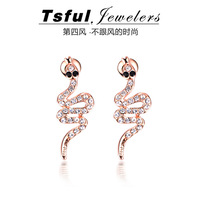 New arrival tsful austrian  long earrings big stud earring fashion personality stud earring serpiform earrings