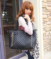 Free 2014 Check handbags Women PULeather Zip Shoulder Fashion Message bags Big Korea New Wholesale HighQuality Designer Brand