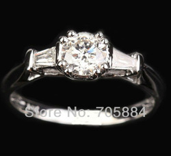 Jewelry Round/Baguette 0.86ct VS/SI Diamond Solitaire 14K White Gold Engagement Ring 6#(China (Mainland))