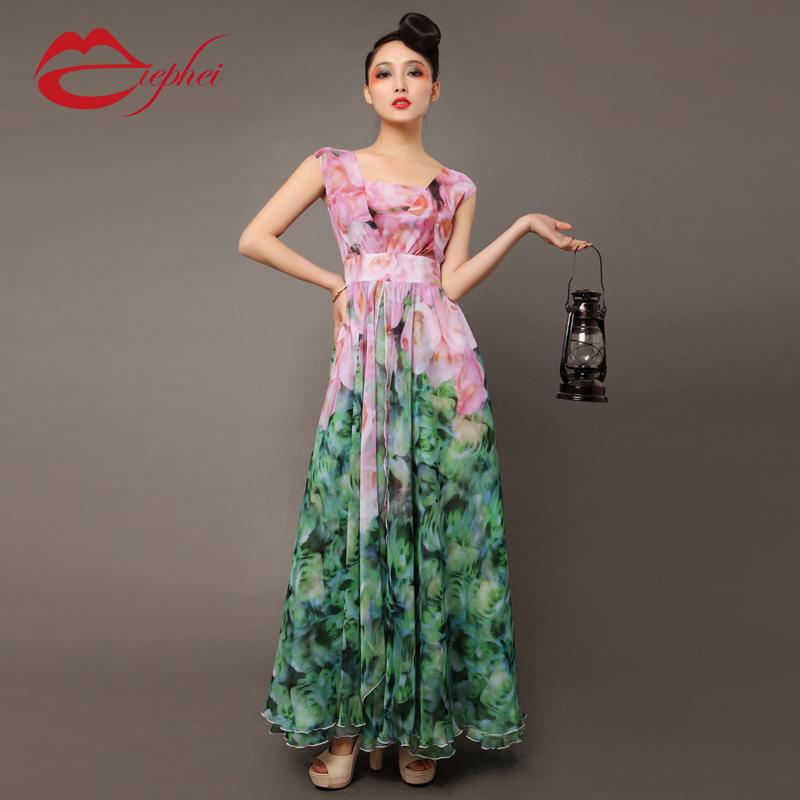 2013 Summer Womens Bohemia Floral Print Ruffle Chiffon Long Dress ...