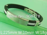 Free shipping wholesale stainless steel jewelry fashion rubber bracelets BDMB003