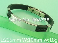 Free shipping wholesale stainless steel jewelry fashion rubber bracelets BDMB015