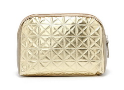H1415 PP Elegant GOLD COLOR COCO STYLE PU ZIPPER Cosmetic Bag MAKE UP BAG FREE SHIPPING DROP SHIPPING WHOLESALE(China (Mainland))