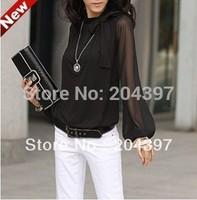 Hot Sale the new big yards of dress, lantern sleeve chiffon loose long-sleeved, fashion women's shirts