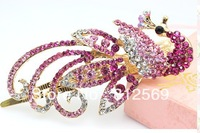(Min.order is $10) B92 Crystal girl hairpins peacock pink 10x5cm rhinestone women duckbill hairclip hair jewelry Austrian style