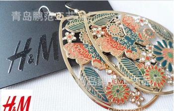 Free Shipping(min order 10$)Fashion accessories beautiful bohemia cutout big circle drop earrings PFGY5