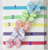 "2013 boutique bow headband 3.1-3.2"" striped  bow with  band without clip,Girls' hair accessories,50pcs/lot  free shipping"