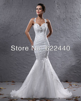 Sexy Design Sweetheart Backless Applique Spaghetti Straps White Mermaid Wedding Dresses Free Shipping