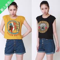 For Indian female 2013 wildfox guns . n . roses women's loose t-shirt short-sleeve