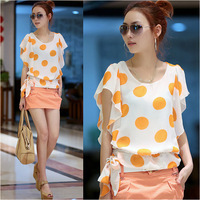 6875 gentlewomen o-neck ruffled pleated sleeve 2013 summer women's slim dot chiffon shirt women's