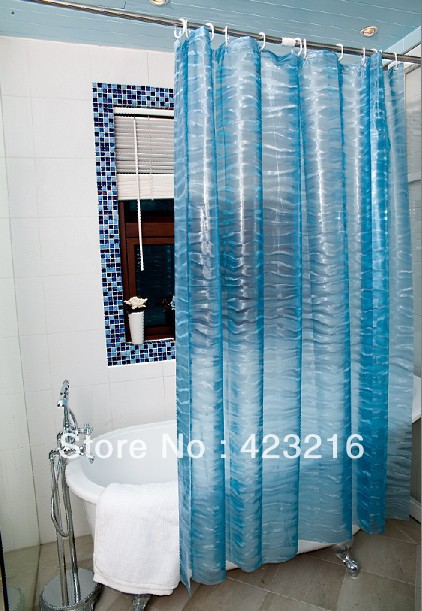 FREE-shipping Printed EVA Shower curtain liner,Clear Bathroom curtain with 12 hooker 1.8x1.8m(China (Mainland))