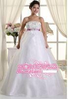 346 vestido de noiva 2014   fashionable romantic sexy diamond pregnant sash   bridal wedding dress bride bridal gown dresses