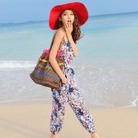 Spaghetti strap jumpsuit bohemia jumpsuit trousers beach pants slim female jumpsuit