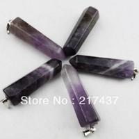 E0001 Free Shopping  Beautiful Romantic Natural Amethyst pendant bead 5pcs/lot