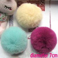 Diy material fashion mobile phone chain accessories bags rabbit fur ball rex rabbit hair ball 7cm