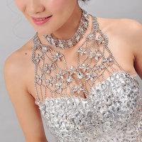 Magic crystal wedding accessories married rhinestone tassel big necklace multicolour formal dress
