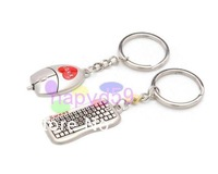 free ship 6pcs Alloy keyboard & mouse key chain creative couple lovers key ring advertising gift keychain can custom logo