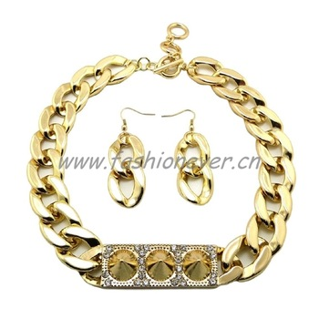 New ICED OUT CELEBRITY STYLE SPIKE ID PIECE FASHION NECKLACE & EARRING SET Gold Plating Free Shiiping