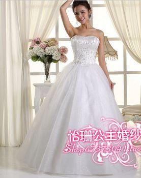 349 vestido de noiva 2014   fashionable sexy beadings elegant sequines   bridal wedding dress  bride bridal gown dresses