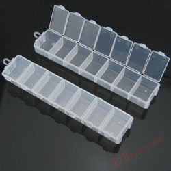 100pairs/packet B69 Wholesale Pill Cases/Bead Display/Nail Art 7 Grids Check Storage Container Pair Boxes 154x33x18mm(China (Mainland))