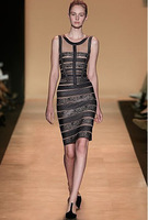 FREE  SHIPPING 2013 new fashion O neck printed  pencil Dress sticking Evening  apricot Bandage  Dresses on sale
