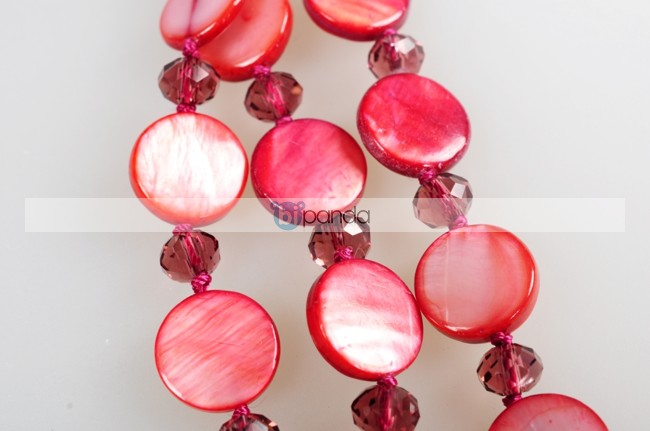 "11mm Natural Red shell Flat Necklace 18"" E10152(China (Mainland))"