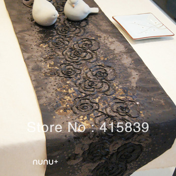 free shipping 13*79inch chinese style fashion Nunu black flower paillette table runner table flag
