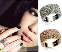 Promotion! Wholesale! Min.order is $10(mix order)Freeshipping/Fashion full rhinestone wide finger ring female SR001