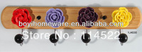 new design wood four hooks with colored ceramic flowers and knobs ball coat rack clothes hanger towel hook wholesale YJ4030