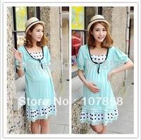 2014 New Summer Beautiful Blue Fashion Polka Dot Short sleeve Maternity dress Casual Pregnant women dresses #M099